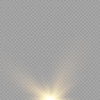 Sonnenexplosion gelbes glühen lichter sonnenstrahlen flare spezialeffekt magie funkelt goldener stern