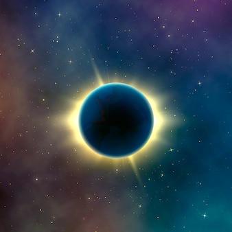 Sonnenfinsternis mit astronomieeffekt. abstrakter hintergrund der sternengalaxie. illustration