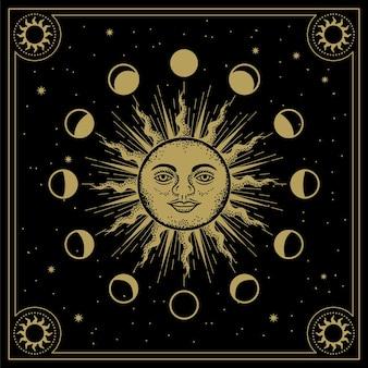 Sonnengesicht mit mond umkreist phasen in der linienkunst