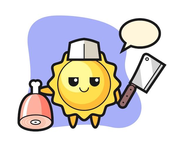 Sonnenkarikatur als metzger