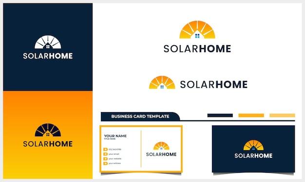 Sonnenkollektor mit hauslogo-designkonzept und visitenkartenvorlage