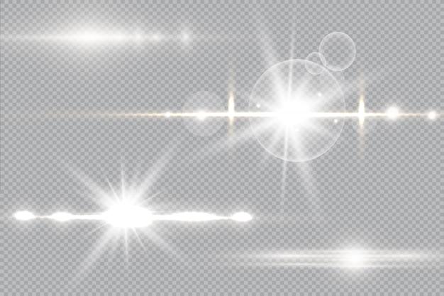 Sonnenlicht ein durchscheinendes spezielles design des lichteffekts. isolierter sonnenlicht transparenter hintergrund. unschärfe im licht der ausstrahlung.