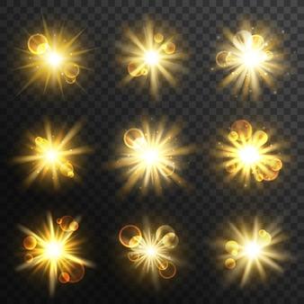 Sonnenlicht, explosion und explosion, goldenes leuchten, blitz