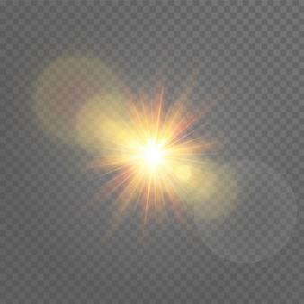 Sonnenlicht. licht der ausstrahlung. isoliertes sonnenlicht transparent.