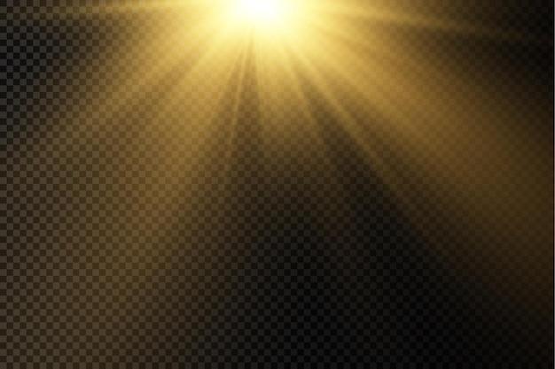 Sonnenlicht mit heller explosionsfackellichtmagie funkelt sonnenstrahlen gelber strahleffekt