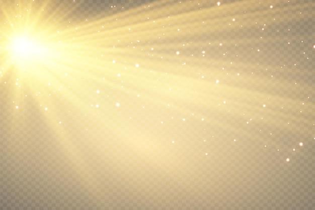 Sonnenlicht-speziallinsen-blitzlichteffekt auf transparentem hintergrund effekt von verschwommenem licht