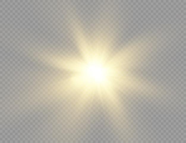 Sonnenlicht spezieller lichteffekt. licht der ausstrahlung. isoliertes sonnenlicht.