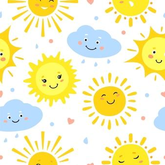 Sonnenmuster. heißer sommer und glücklicher sonnenaufgang, gelbe sonnenkreise, sonniges wetter nahtlose textur