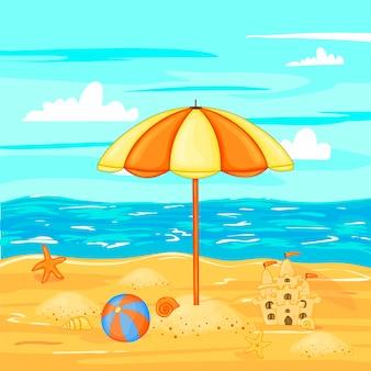 Sonnenschirm am strand am wasser.