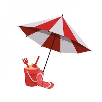 Sonnenschirm für den sommer gestreift