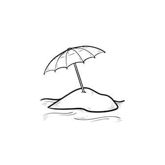 Sonnenschirm handsymbol gezeichneten umriss doodle. sonnenschutz, sommerurlaub, erholung und tourismuskonzept