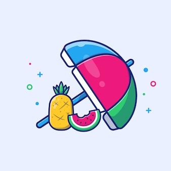 Sonnenschirm mit ananas, wassermelone. illustration. sommerstrand. feiertagskonzept weiß isoliert