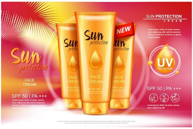 Sonnenschutz-cremetuben, kosmetische sonnenschutzprodukte. illustration für magazin, anzeigenvorlage.