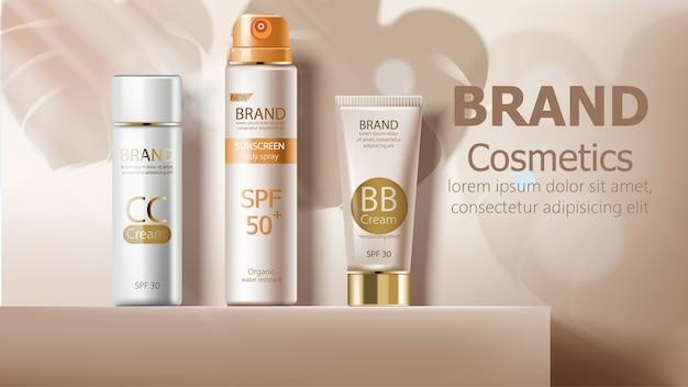 Sonnenschutz-körperspray und creme in beige farbe