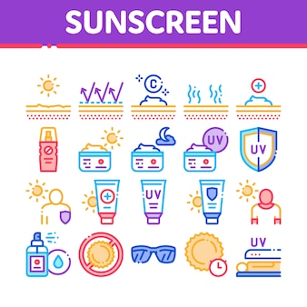 Sonnenschutz sammlung elemente icons set