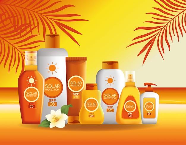 Sonnenschutzflaschen produkte für den sommer