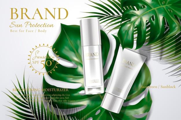 Sonnenschutzröhre und flasche mit tropischen blättern