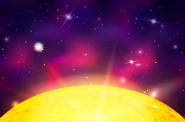 Sonnenstern mit lichtstrahlen auf weltraumhintergrund mit hellen sternen und sternbildern