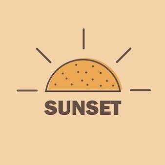 Sonnensymbol, umrissvektorzeichen, lineares piktogramm, sonnenuntergang, wettervorhersagesymbol, logoillustration