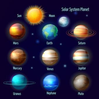 Sonnensystem 8 planeten und pluto mit sonnenpiktogrammen stellten astronomisches plakat ein