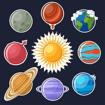 Sonnensystem-aufkleber-set. niedliche cartoon planeten
