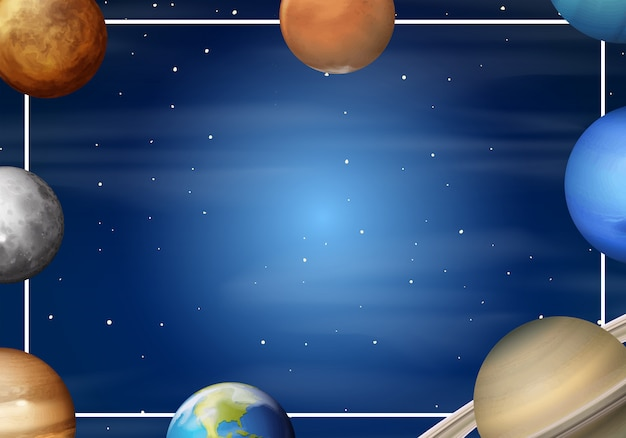 Sonnensystem-cartoon-rahmen