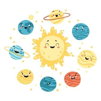 Sonnensystem. die sonne und die planeten. niedliche raumkindliche illustration mit lustigen gesichtern. handgezeichnete zeichentrickfiguren