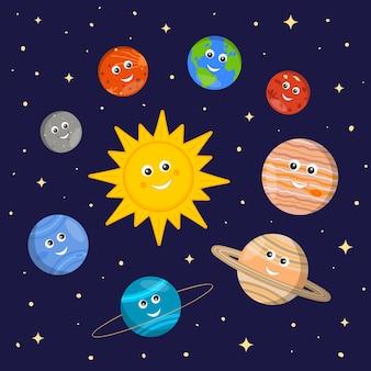 Sonnensystem für kinder niedliche sonnen- und planetenfiguren im cartoon-stil auf dunklem weltraumhintergrund