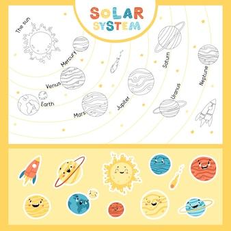 Sonnensystem. pädagogisches kindliches spiel mit aufklebern. die sonne und die planeten nacheinander. raum kindliche illustration mit lustigen gesichtern. handgezeichnete zeichentrickfiguren