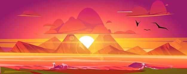 Sonnenuntergang am meer, roter himmel mit sonne, die das meer hinuntergeht, umgeben von bergen. schöner naturlandschaftshintergrund, abendliche himmelsblickmöwen, die über wasser fliegen, karikaturvektorillustration