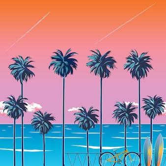 Sonnenuntergang am strand mit palmen, türkisfarbenem ozean und orange himmel mit wolken. radfahren am strand. tropische kulisse für sommerferien. surfstrand. illustration