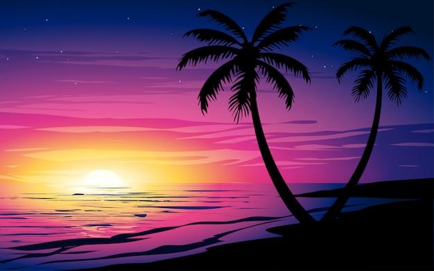 Sonnenuntergang am strand mit palmen und buntem himmel