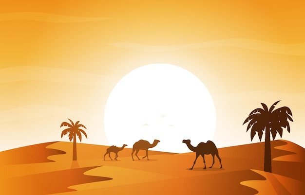 Sonnenuntergang arabische wüste kamel karawane muslimische islamische kultur illustration