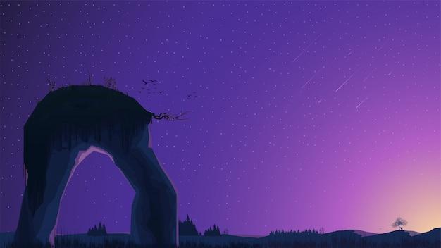 Sonnenuntergang auf einem feld mit kiefern und einem großen felsen im vordergrund