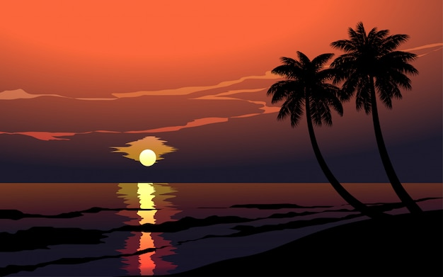 Sonnenuntergang im meer mit palmen