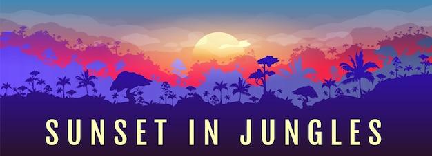 Sonnenuntergang in der flachen farbfahnenschablone des dschungels. orange sonne über wald. panoramablick auf exotische wälder. reise in den regenwald. tropische 2d-karikaturlandschaft mit wäldern auf hintergrund
