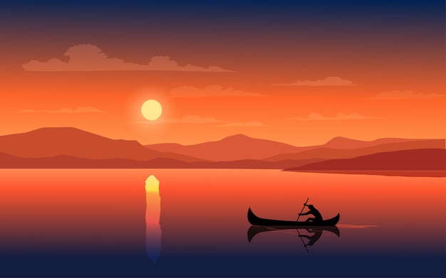 Sonnenuntergang in einem see mit mann auf boot