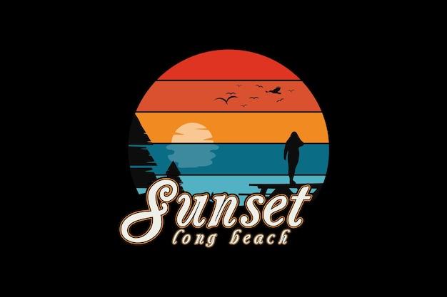 Sonnenuntergang langer strand, retro-vintage-stil-handzeichnungsillustration