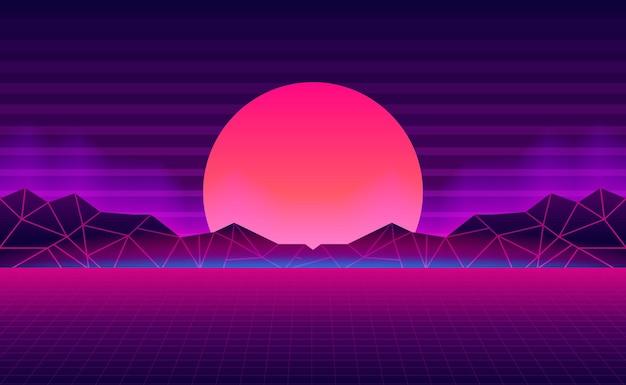 Sonnenuntergang mit berglandschafts-retrohintergrund mit rosa und lila neonlichtfarbe