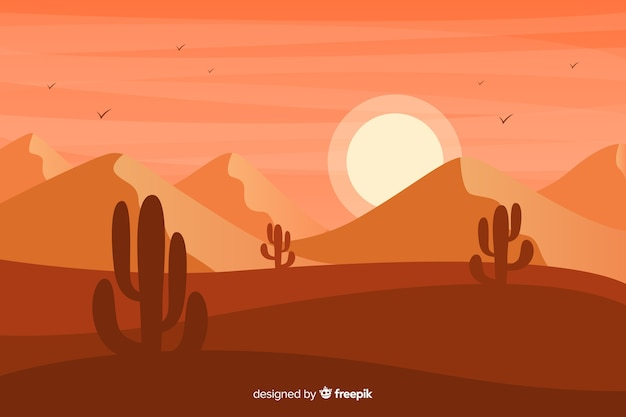 Sonnenuntergang mit dünen und kakteen