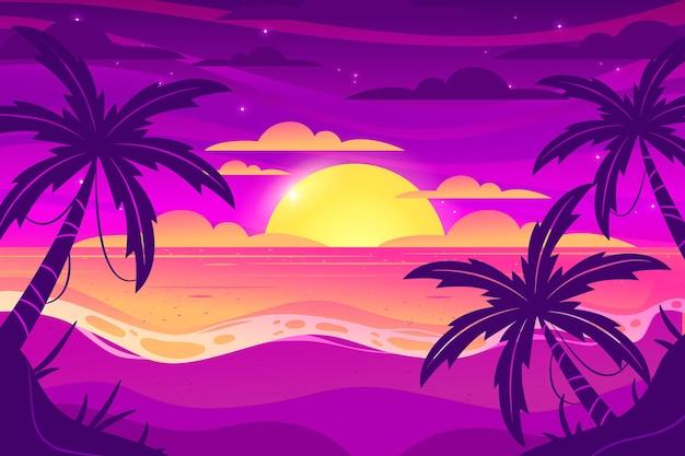 Sonnenuntergang mit palmenhintergrund