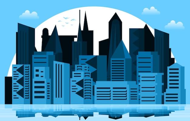 Sonnenuntergang moderne stadt wolkenkratzer gebäude stadtbild skyline illustration