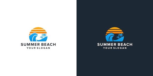 Sonnenuntergang sommerstrand logo-design