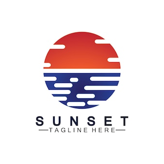 Sonnenuntergang strand logo symbol vektor illustration design-vorlage.
