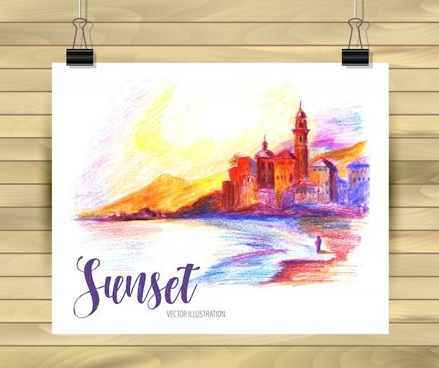 Sonnenuntergang strand postkarte
