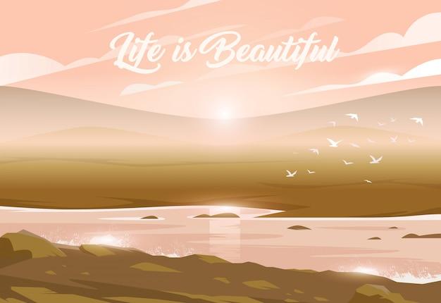 Sonnenuntergang über einem tal und einem fluss. unglaubliche landschaft. illustration. spannende aussicht. das leben ist wunderschoen.