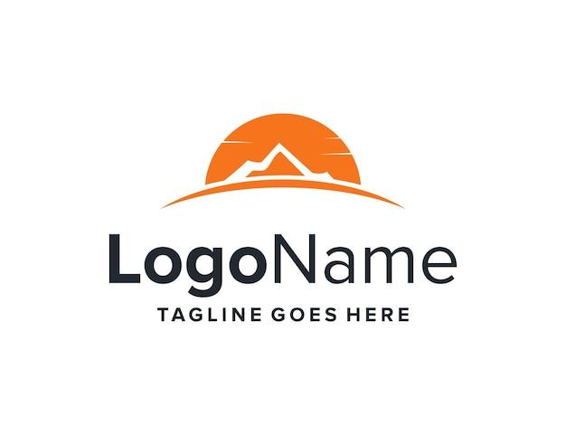 Sonnenuntergang und berg einfaches schlankes kreatives geometrisches modernes logo-design
