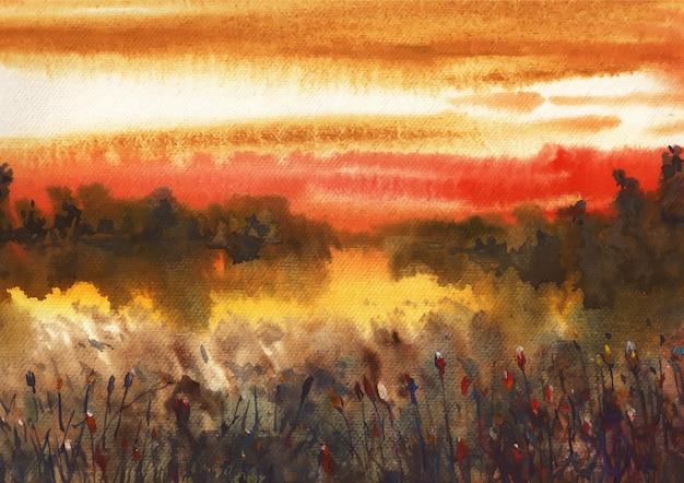 Sonnenuntergang und reflexionsnaturmalerei von aquarell