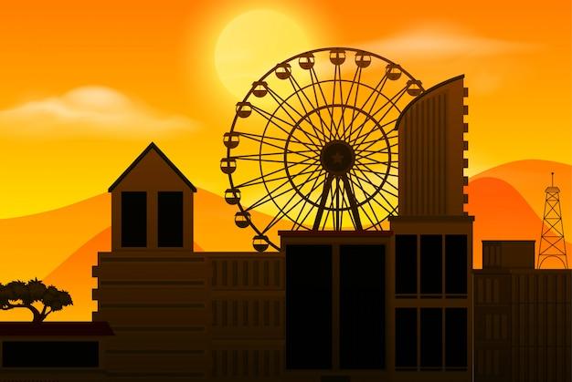 Sonnenuntergang und stadt silhouette