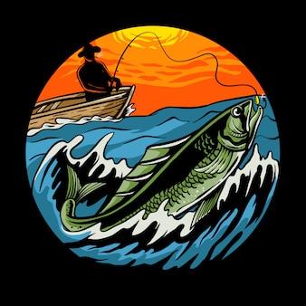 Sonnenuntergangfischenfischer auf hölzernem boot mit einer angelrute zieht eine fischillustration